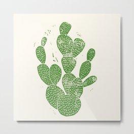 Linocut Cactus #1 Metal Print