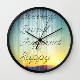 Blessed, Loved, Inspired, Happy Wall Clock