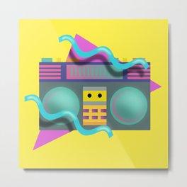 Retro Eighties Boom Box Graphic Metal Print