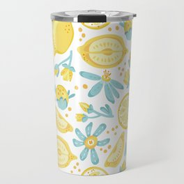 Lemon pattern White Travel Mug
