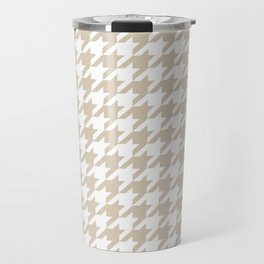 Houndstooth: Beige & White Checkered Design Travel Mug