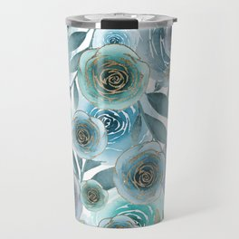 Watercolor Roses Golden Blues Travel Mug