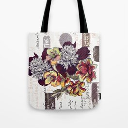 Beautiful illustration with peony flowers in vintage style Tote Bag