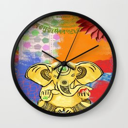 Golden Ganesha Om Wall Clock