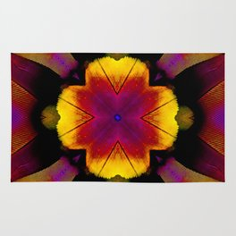yellow pink flower and feathers mandala Rug
