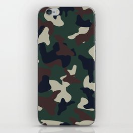 Green Brown woodland camo camouflage pattern iPhone Skin