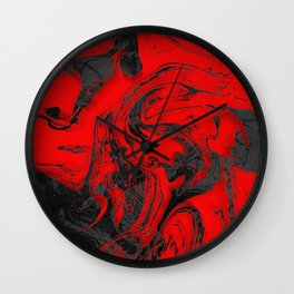 Black & Red Marble Wall Clock