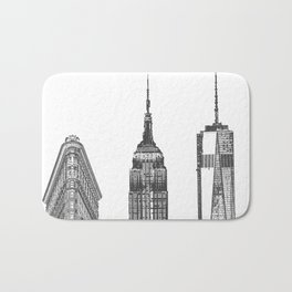 New York City Iconic Buildings-Empire State, Flatiron, One World Trade Bath Mat