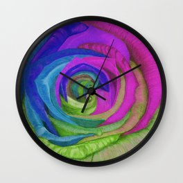 Splaaash!!!!!! (Neon Rainbow Rose) Wall Clock