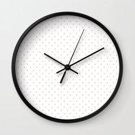 Mini Pale Millennial Pink Pastel Polka Dots On White Wall Clock