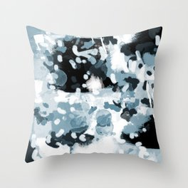 Minerva - abstract art home decor dorm college office minimal painting blue black white Throw Pillow