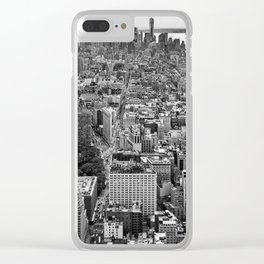 New York City black & white Clear iPhone Case