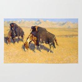 Frederic Remington - Indians Simulating Buffalo, 1908 Rug