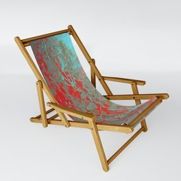 texture - aqua and red paint Sling Chair