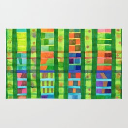 Colored Fields With Bamboo Rug