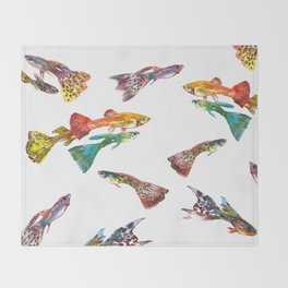 Guppy Aquarium Fish , Aquarium Art Underwater Throw Blanket