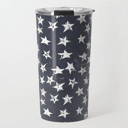 Linocut Stars - Navy & White Travel Mug