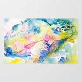 Sea Turtle Watercolor Illustration by Julie Lehite, Julesofthesea Rug