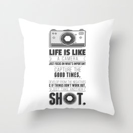 Vintage Camera Quote Throw Pillow