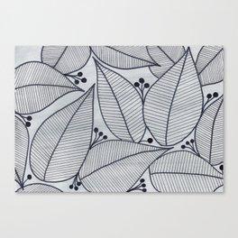 Black Leaves on Silvery Grey - II Canvas Print