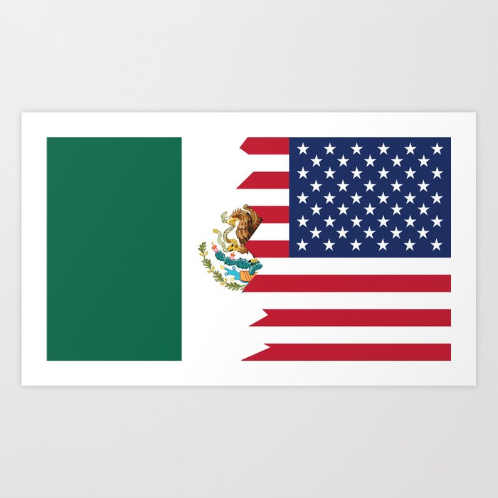 Half Mexican American Flag Art Print by awesomeart