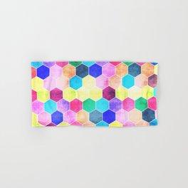 Honeycombs print, colorful hexagons Hand & Bath Towel