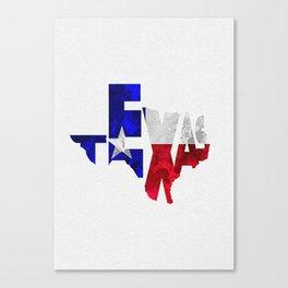 Texas Typographic Flag Map Art Canvas Print