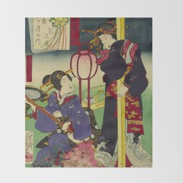 A day of twelve months in Yoshiwara Throw Blanket