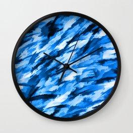Blue Designer Camo Wall Clock