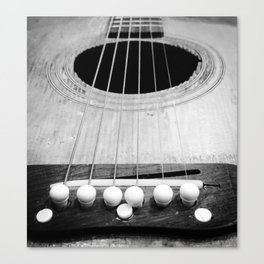 Wooden Acoustic Guitar in Black and White Canvas Print
