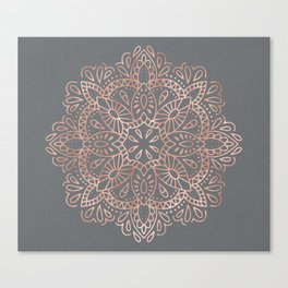 Mandala Rose Gold Pink Shimmer on Soft Gray by Nature Magick Canvas Print