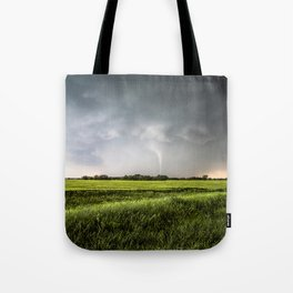 White Tornado - Twister Emerges from Rain Over Field in Kansas Tote Bag