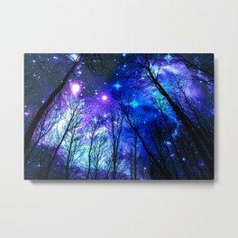 black trees purple blue space Metal Print