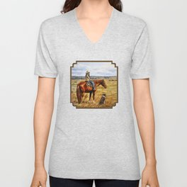 Young Cowgirl on Cattle Horse Unisex V-Neck