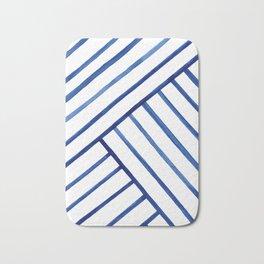 Watercolor lines pattern | Navy blue Bath Mat