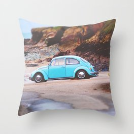 Vintage Blue Beetle Throw Pillow