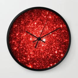 GalaXy : Red Glitter Sparkle Wall Clock