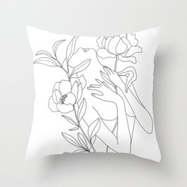 Minimal Line Art Woman with Peonies Throw Pillow