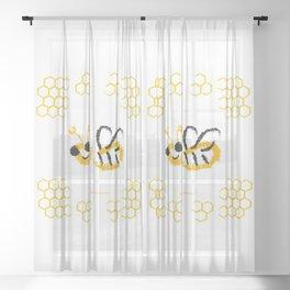 Happy bee Sheer Curtain