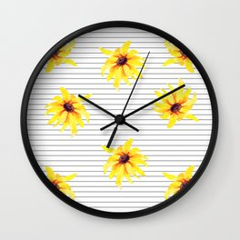 Yellow Daises on Minimal Black and White Stripes Wall Clock
