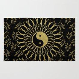 'Yin Yang Golden Daisy' Gold Black mandala Rug