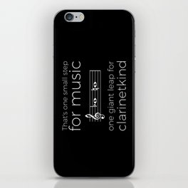 Crossing the break (clarinet) - white text for dark t-shirts iPhone Skin