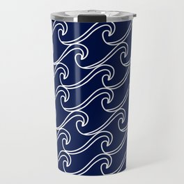 Rough Sea Pattern - white on navy blue Travel Mug