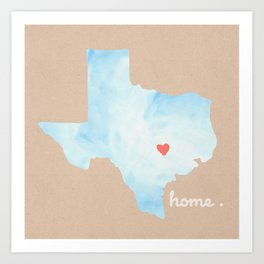 Texas Watercolor Print Art Print