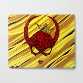 Horns, masked and crowned on yellow Metal Print