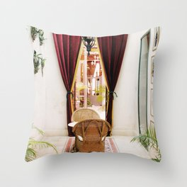 Colonial Style Tea Room in Merida, Mexico Throw Pillow