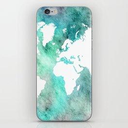 Design 62 World Map Turquoise Aqua iPhone Skin