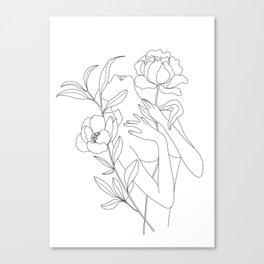 Minimal Line Art Woman with Peonies Canvas Print