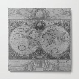 Antique Gray Map Metal Print