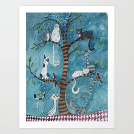 Cat family tree Art Print